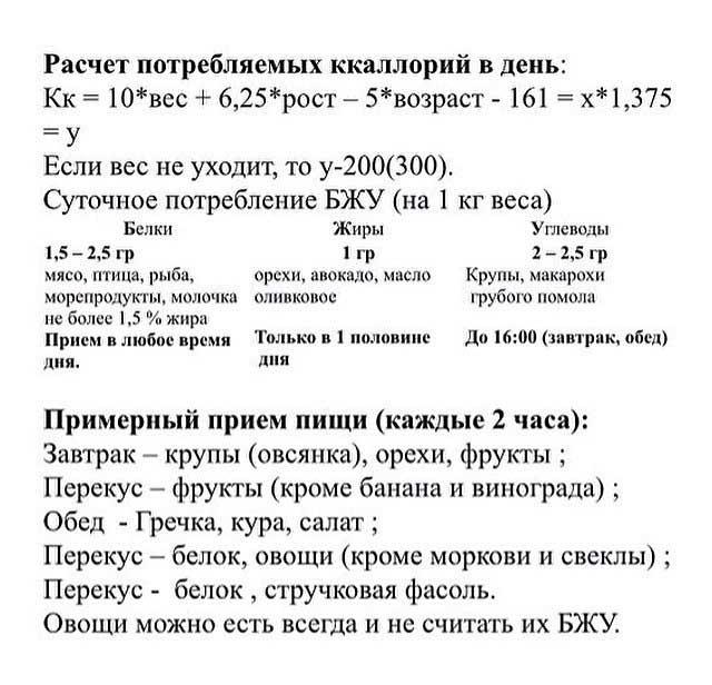 Калькулятор расчета КБЖУ
