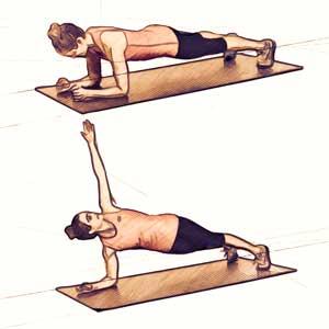 Планка с поворотом для похудения живота