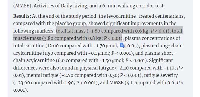 Результаты исследование действия левокарнитина