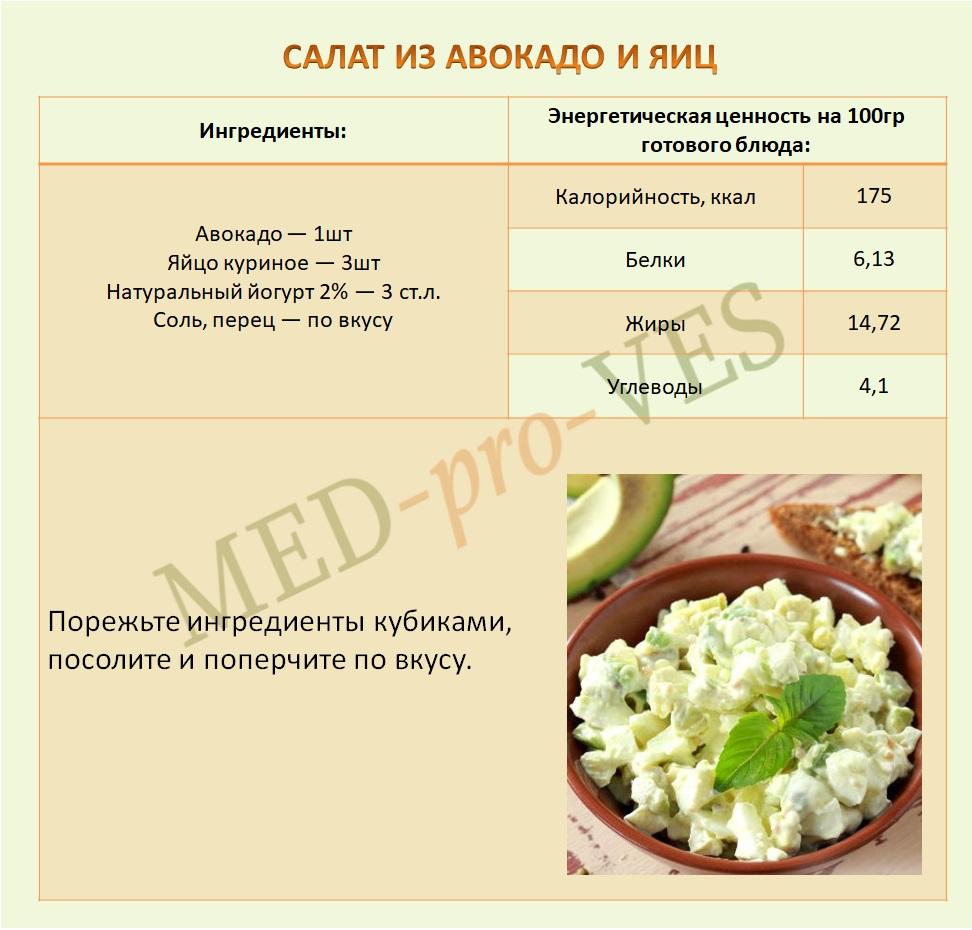 салат из авокадо и яиц